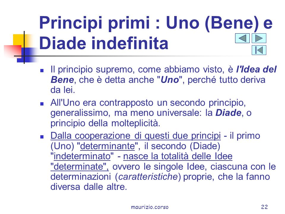 Principi primi : Uno (Bene) e Diade indefinita