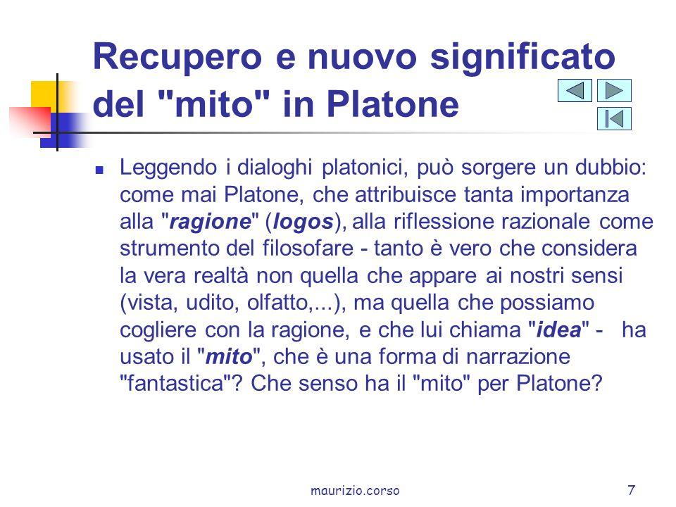 Recupero e nuovo significato del mito in Platone