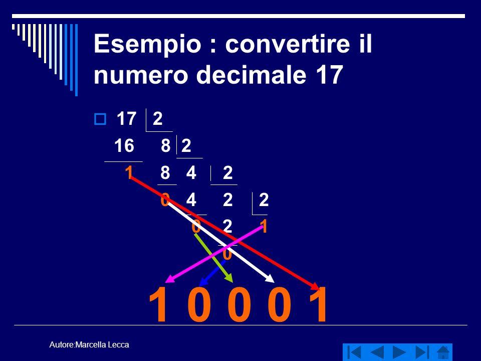 Esempio : convertire il numero decimale 17