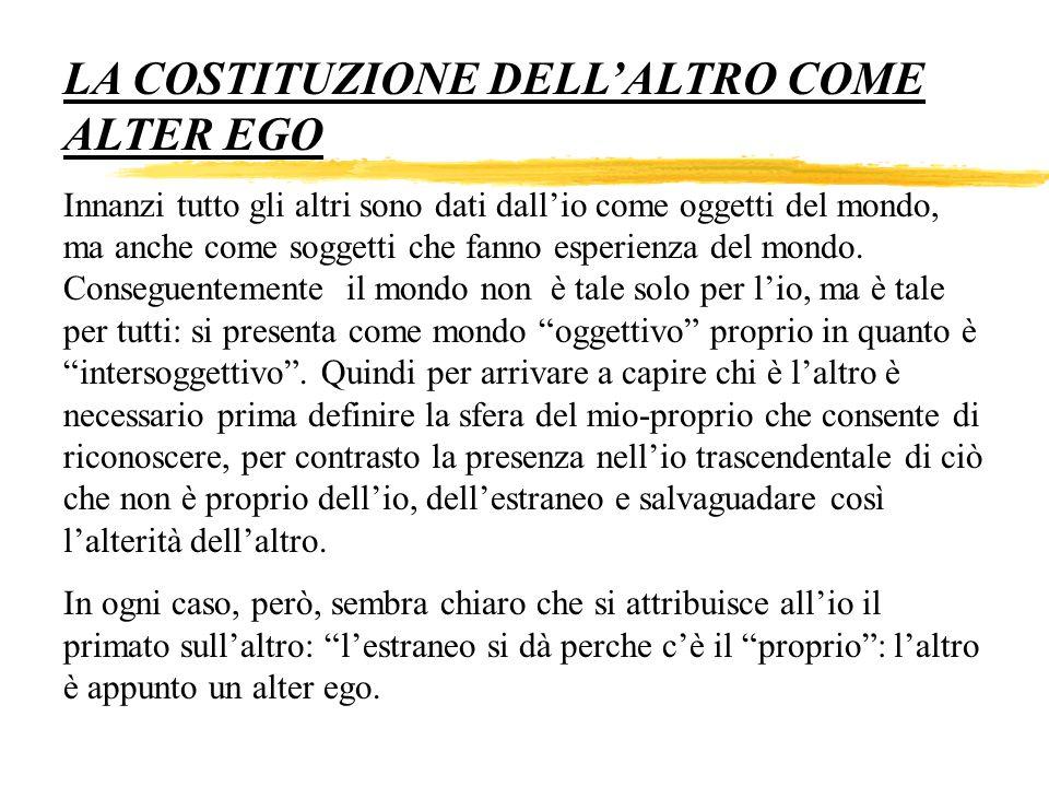 LA COSTITUZIONE DELL'ALTRO COME ALTER EGO