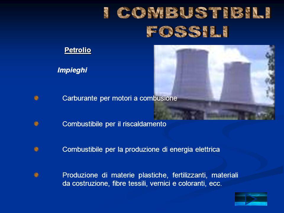 I COMBUSTIBILI FOSSILI Petrolio Impieghi