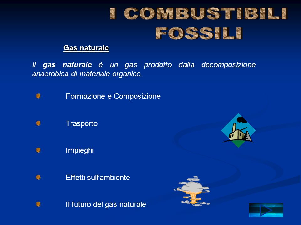 I COMBUSTIBILI FOSSILI Gas naturale