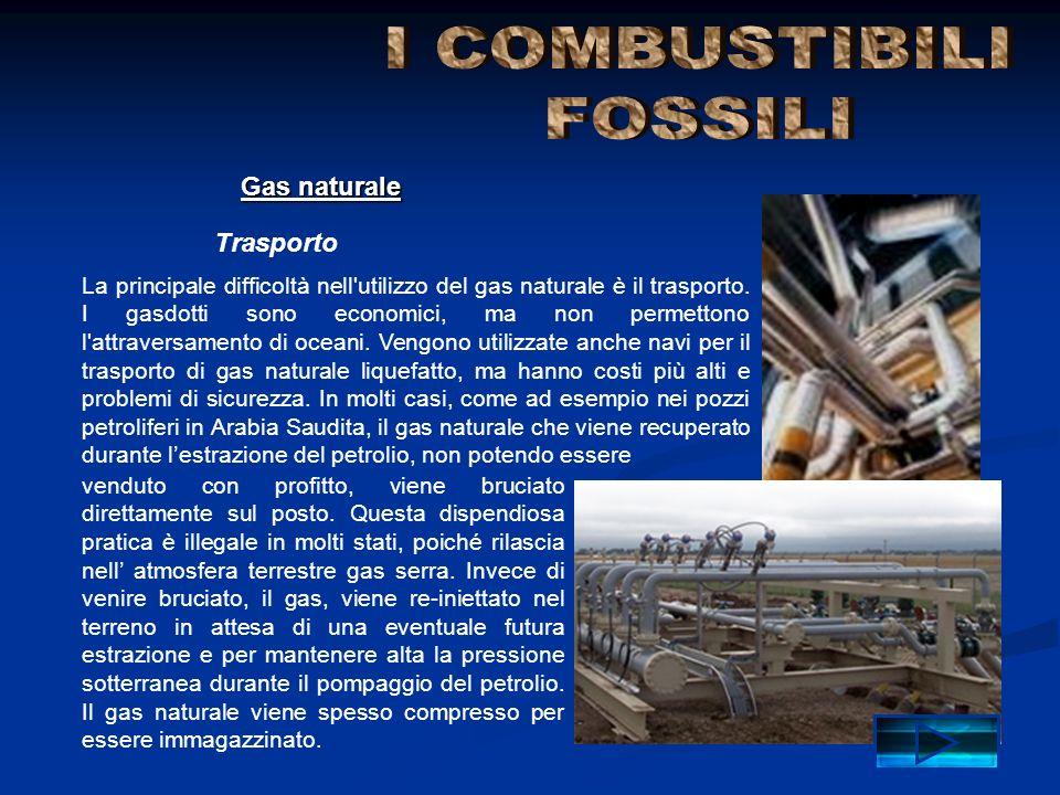 I COMBUSTIBILI FOSSILI Gas naturale Trasporto