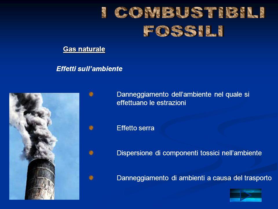 I COMBUSTIBILI FOSSILI Gas naturale Effetti sull'ambiente