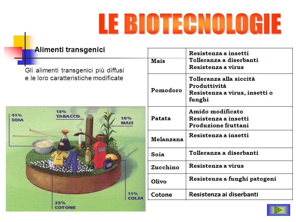 LE BIOTECNOLOGIE Alimenti transgenici