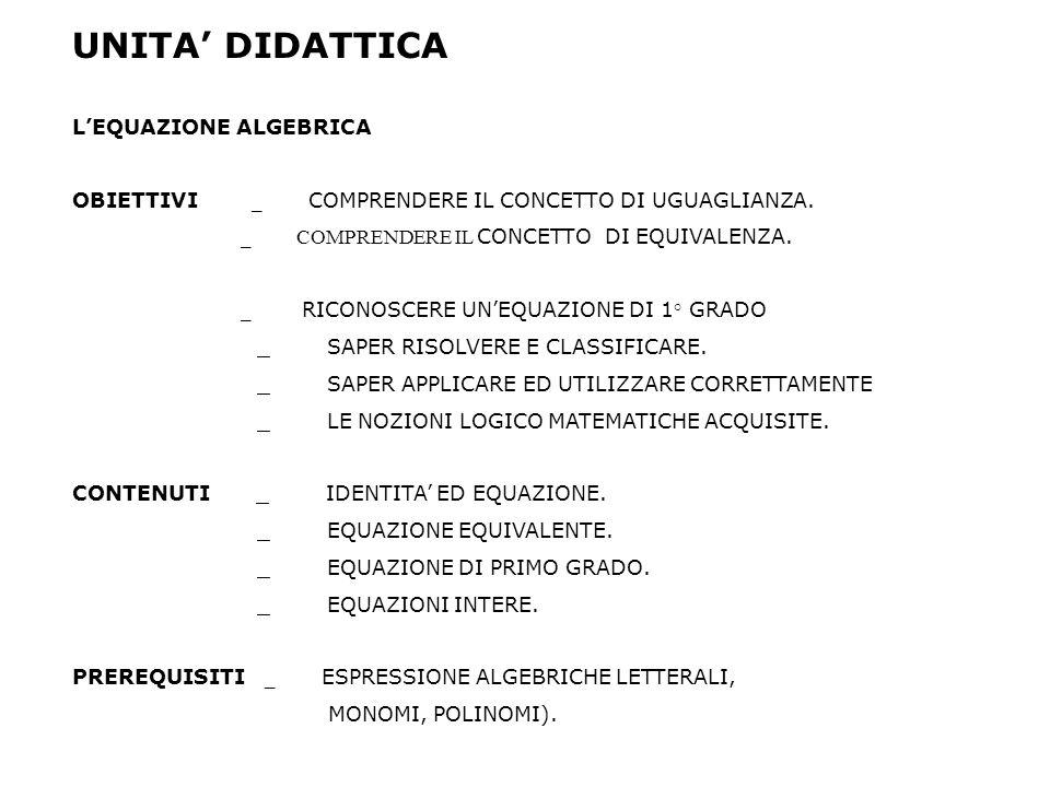 UNITA' DIDATTICA L'EQUAZIONE ALGEBRICA