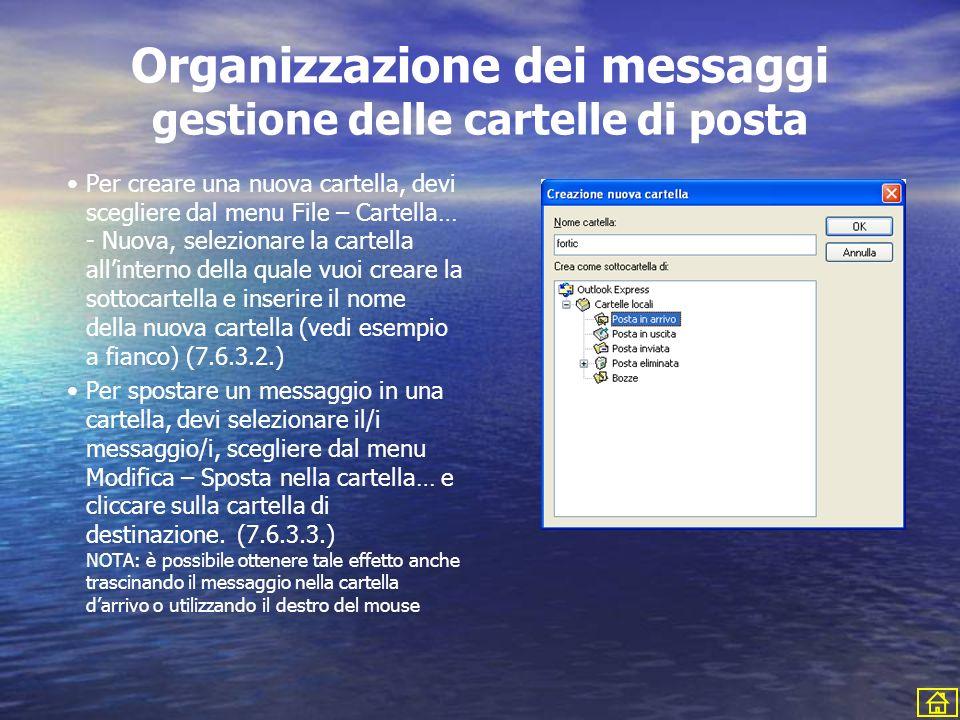 Organizzazione dei messaggi gestione delle cartelle di posta