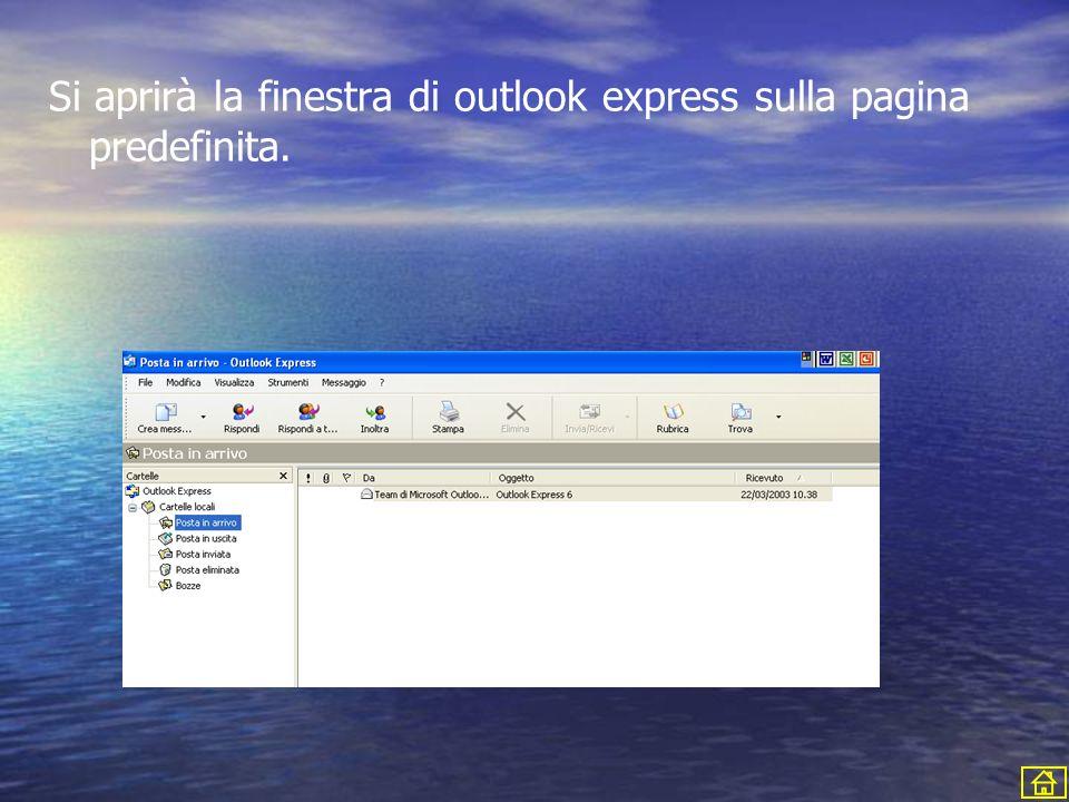 Si aprirà la finestra di outlook express sulla pagina predefinita.