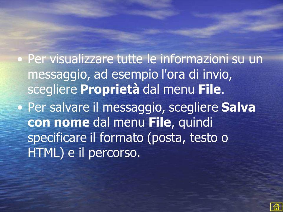 Per visualizzare tutte le informazioni su un messaggio, ad esempio l ora di invio, scegliere Proprietà dal menu File.