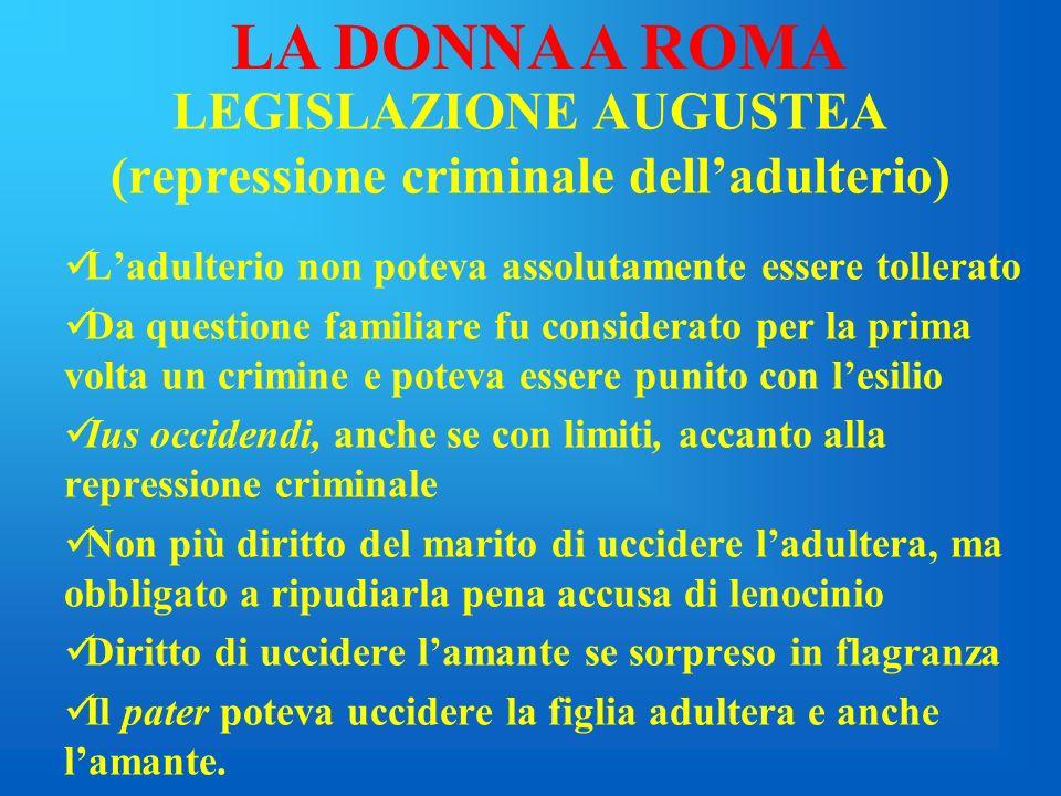 LEGISLAZIONE AUGUSTEA (repressione criminale dell'adulterio)
