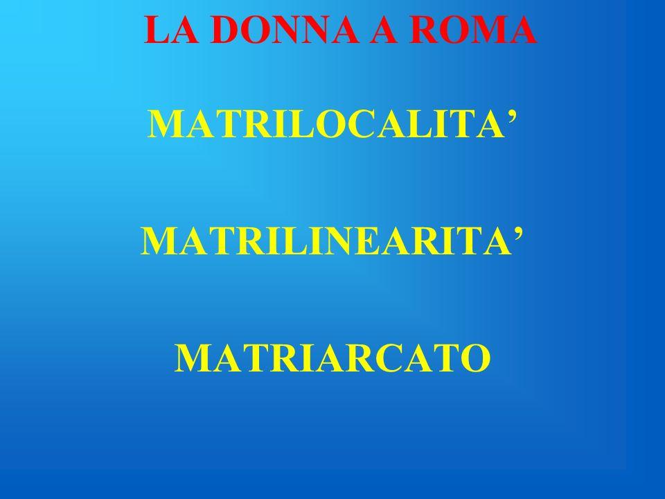 MATRILOCALITA' MATRILINEARITA' MATRIARCATO