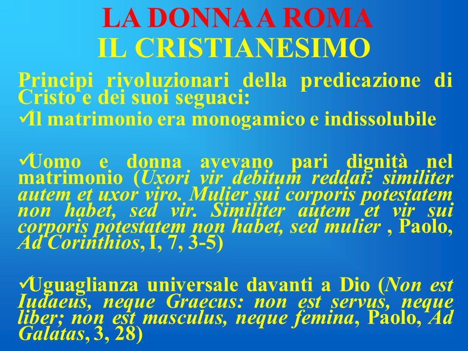 LA DONNA A ROMA IL CRISTIANESIMO
