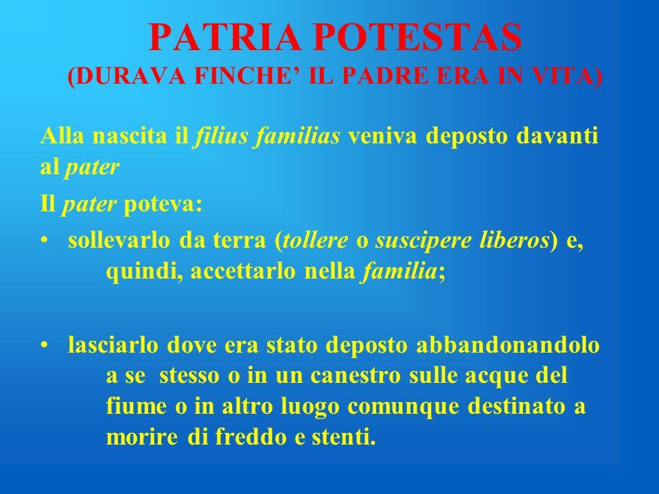 PATRIA POTESTAS (DURAVA FINCHE' IL PADRE ERA IN VITA)