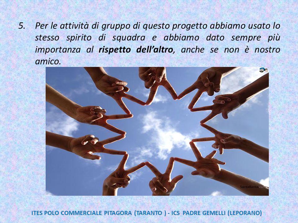 Per le attività di gruppo di questo progetto abbiamo usato lo stesso spirito di squadra e abbiamo dato sempre più importanza al rispetto dell'altro, anche se non è nostro amico.