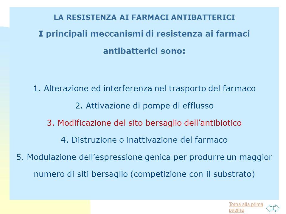 LA RESISTENZA AI FARMACI ANTIBATTERICI I principali meccanismi di resistenza ai farmaci antibatterici sono: 1.