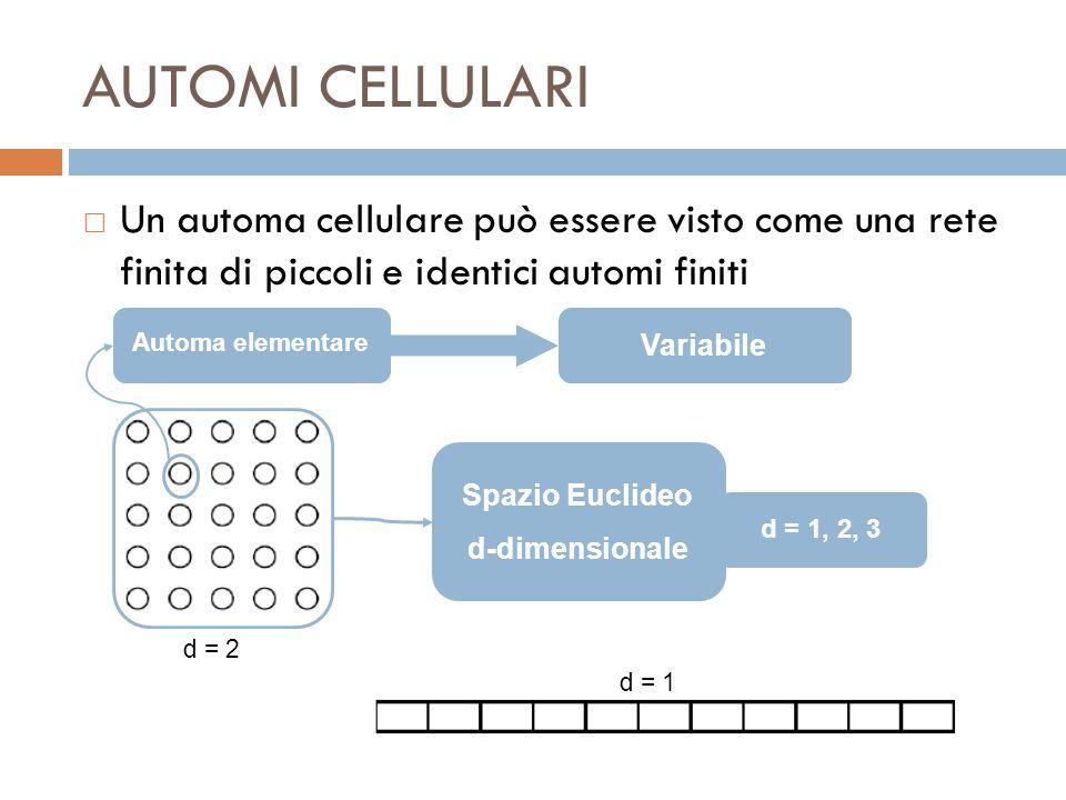 AUTOMI CELLULARI Un automa cellulare può essere visto come una rete finita di piccoli e identici automi finiti.