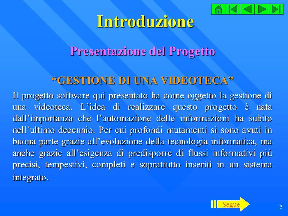 Presentazione del Progetto GESTIONE DI UNA VIDEOTECA