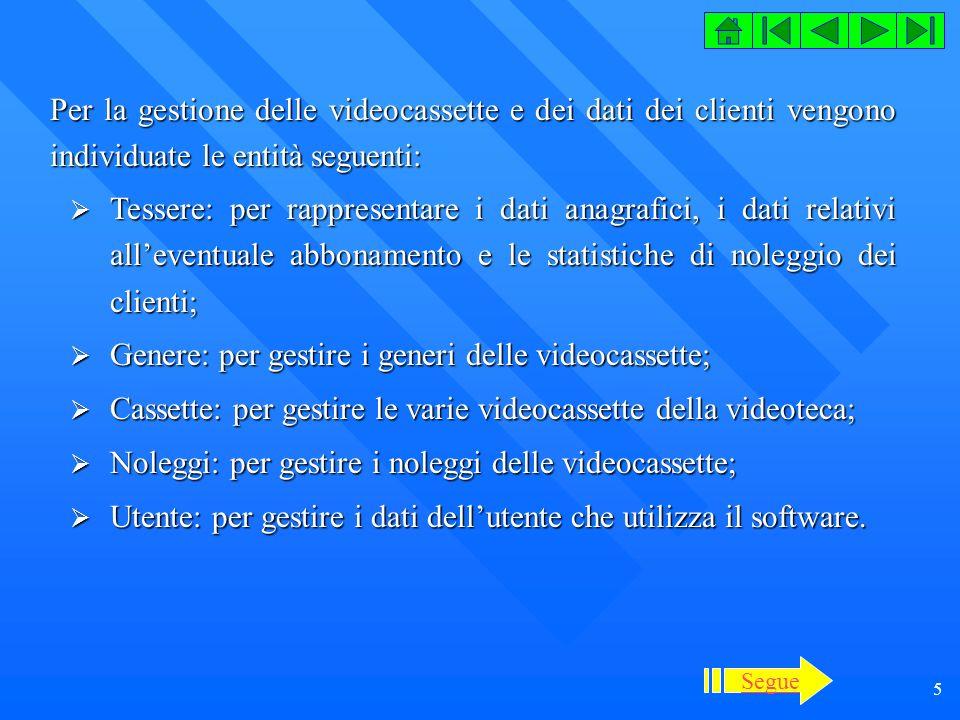 Genere: per gestire i generi delle videocassette;