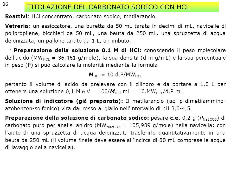 TITOLAZIONE DEL CARBONATO SODICO CON HCL
