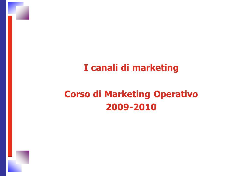 I canali di marketing Corso di Marketing Operativo 2009-2010