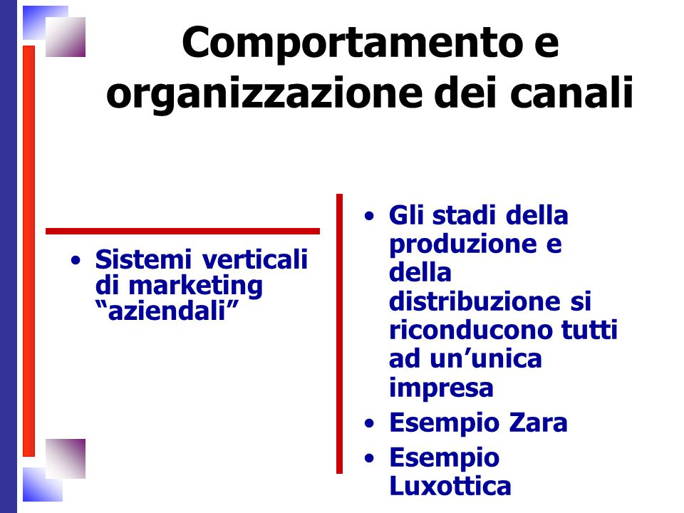 Comportamento e organizzazione dei canali