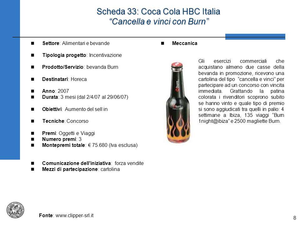 Scheda 33: Coca Cola HBC Italia Cancella e vinci con Burn