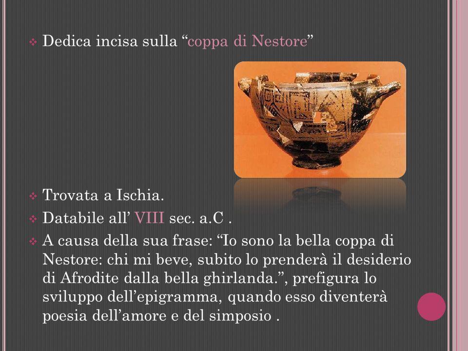 Dedica incisa sulla coppa di Nestore