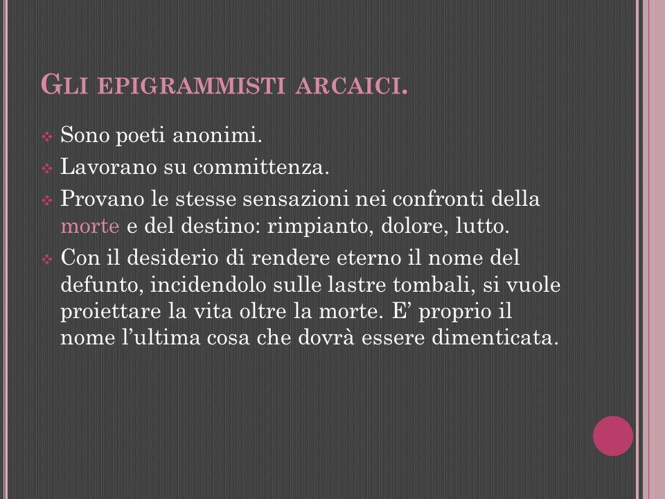 Gli epigrammisti arcaici.