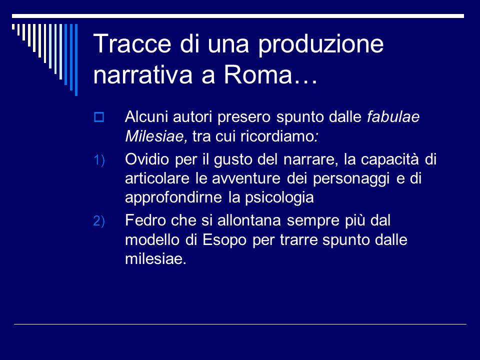 Tracce di una produzione narrativa a Roma…
