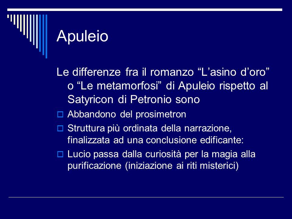 Apuleio Le differenze fra il romanzo L'asino d'oro o Le metamorfosi di Apuleio rispetto al Satyricon di Petronio sono.