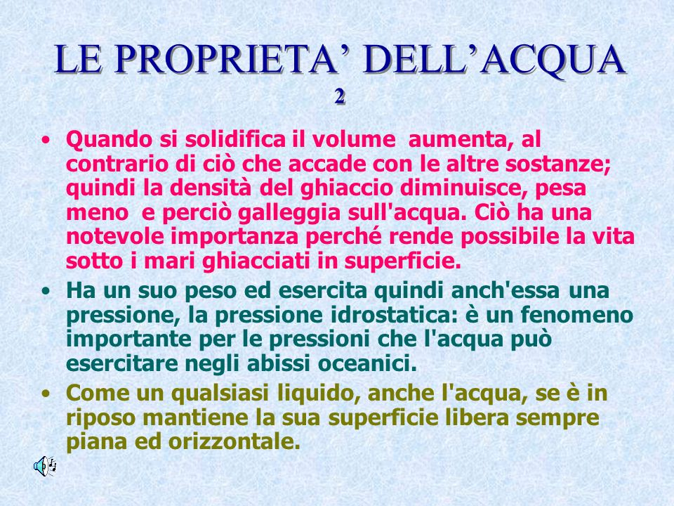 LE PROPRIETA' DELL'ACQUA 2