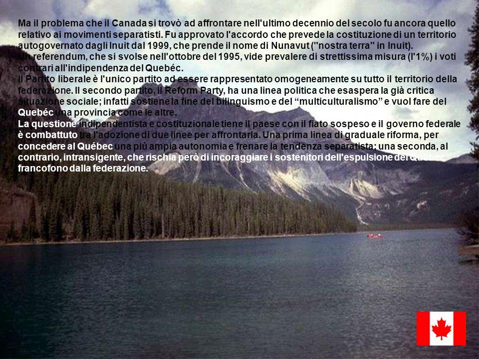 Ma il problema che il Canada si trovò ad affrontare nell ultimo decennio del secolo fu ancora quello relativo ai movimenti separatisti. Fu approvato l accordo che prevede la costituzione di un territorio autogovernato dagli Inuit dal 1999, che prende il nome di Nunavut ( nostra terra in Inuit).