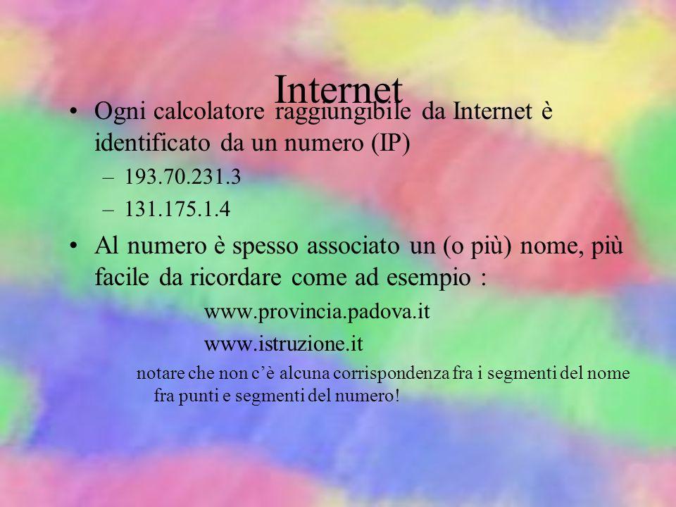 Internet Ogni calcolatore raggiungibile da Internet è identificato da un numero (IP) 193.70.231.3.