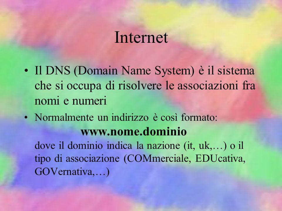 Internet Il DNS (Domain Name System) è il sistema che si occupa di risolvere le associazioni fra nomi e numeri.