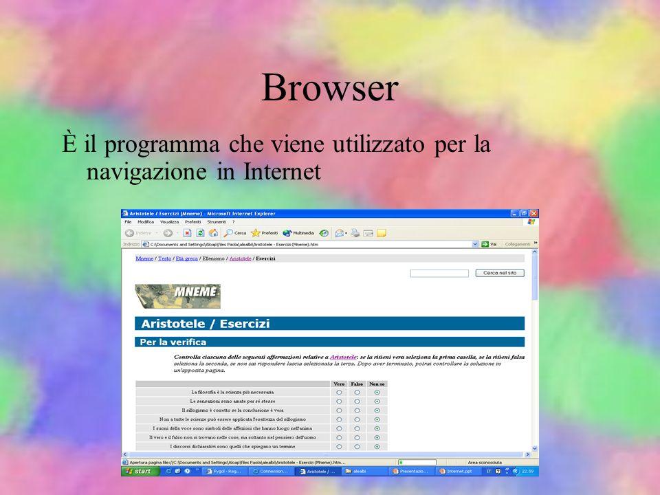 Browser È il programma che viene utilizzato per la navigazione in Internet