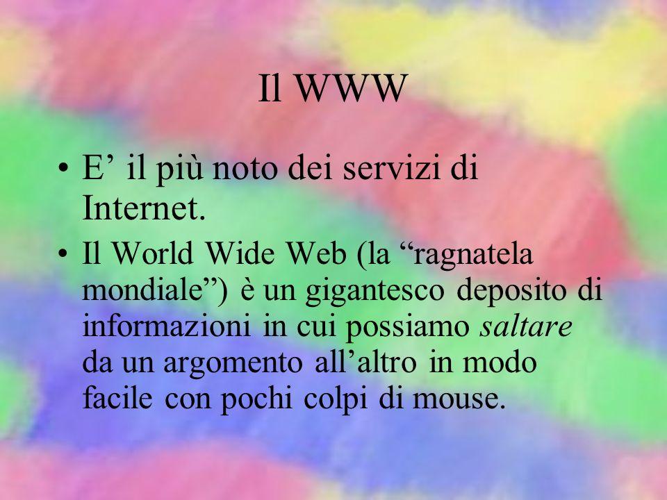 Il WWW E' il più noto dei servizi di Internet.