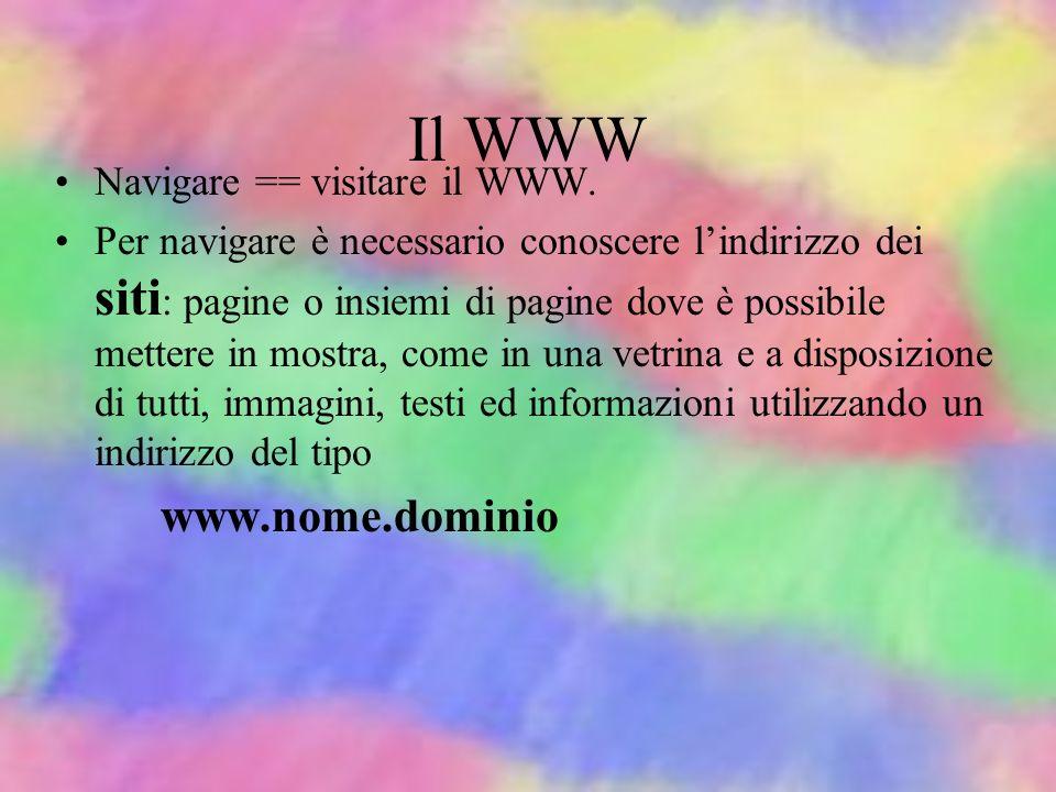 Il WWW Navigare == visitare il WWW.