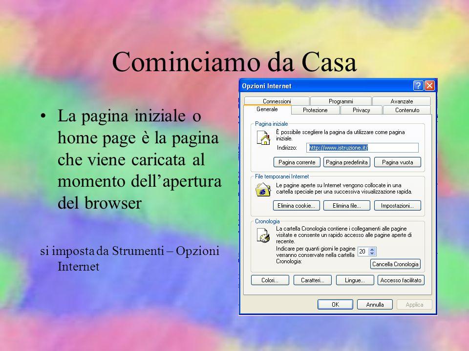 Cominciamo da Casa La pagina iniziale o home page è la pagina che viene caricata al momento dell'apertura del browser.