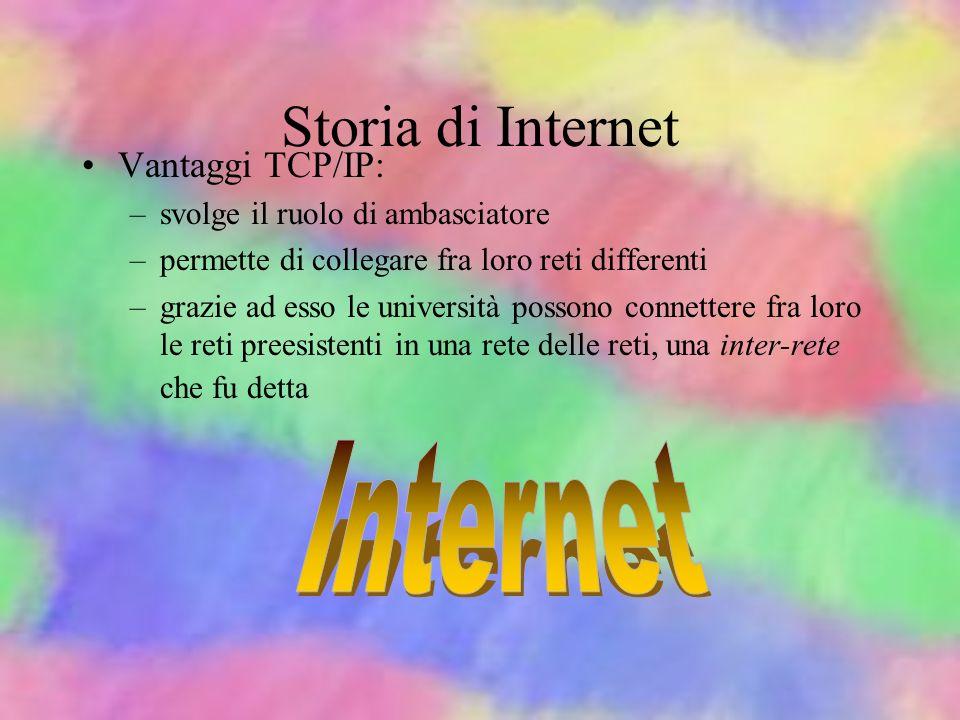 Storia di Internet Internet Vantaggi TCP/IP: