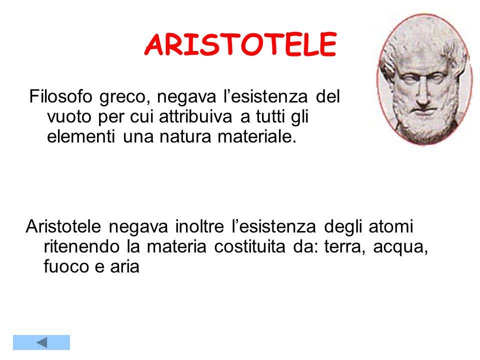 ARISTOTELE Filosofo greco, negava l'esistenza del vuoto per cui attribuiva a tutti gli elementi una natura materiale.