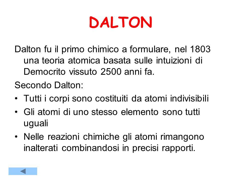 DALTON Dalton fu il primo chimico a formulare, nel 1803 una teoria atomica basata sulle intuizioni di Democrito vissuto 2500 anni fa.