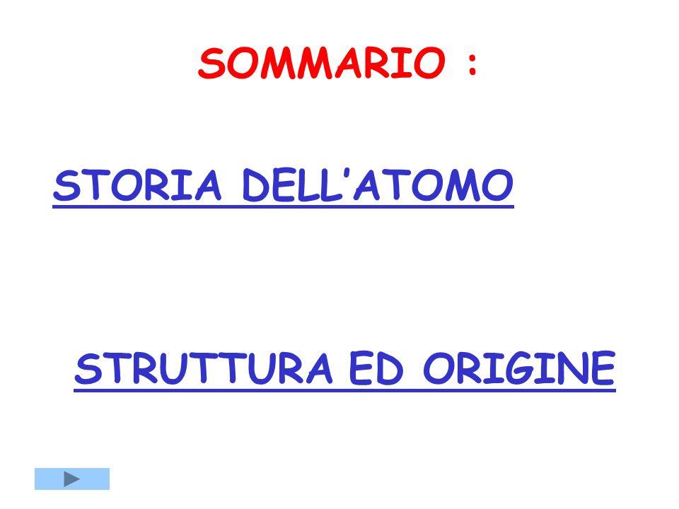 SOMMARIO : STORIA DELL'ATOMO STRUTTURA ED ORIGINE