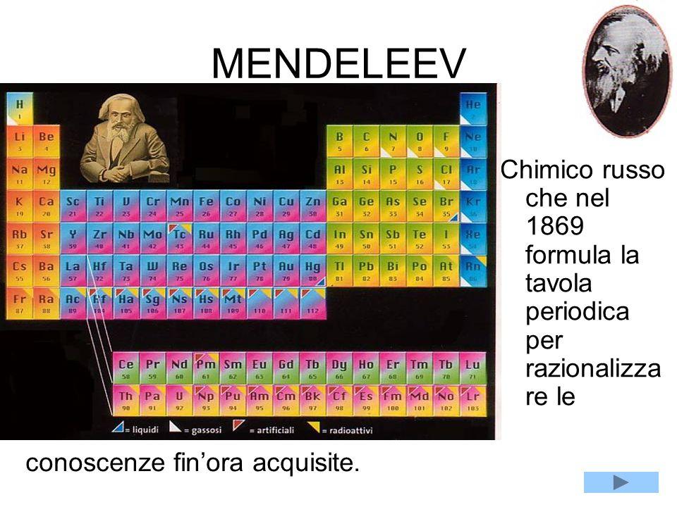MENDELEEV Chimico russo che nel 1869 formula la tavola periodica per razionalizzare le.