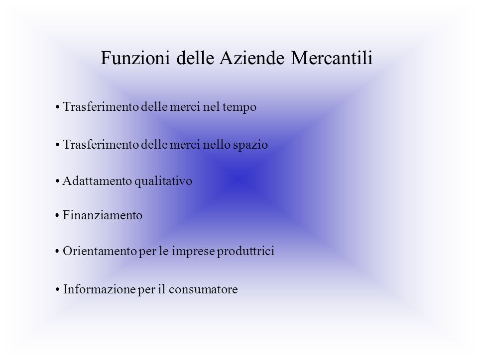 Funzioni delle Aziende Mercantili