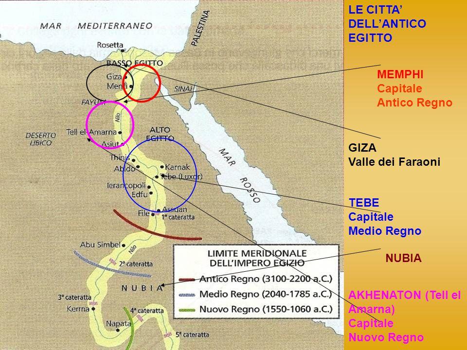 LE CITTA' DELL'ANTICO. EGITTO. MEMPHI. Capitale. Antico Regno. GIZA. Valle dei Faraoni. TEBE.