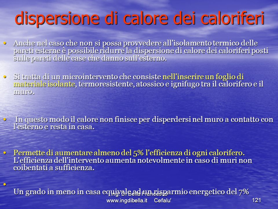 dispersione di calore dei caloriferi