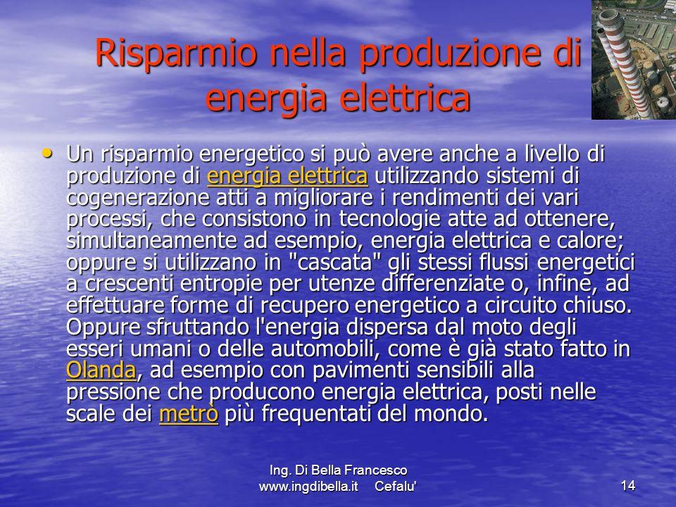 Risparmio nella produzione di energia elettrica
