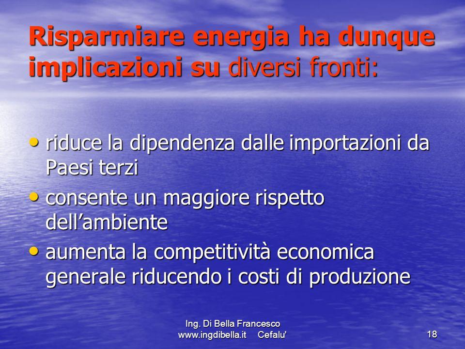 Risparmiare energia ha dunque implicazioni su diversi fronti: