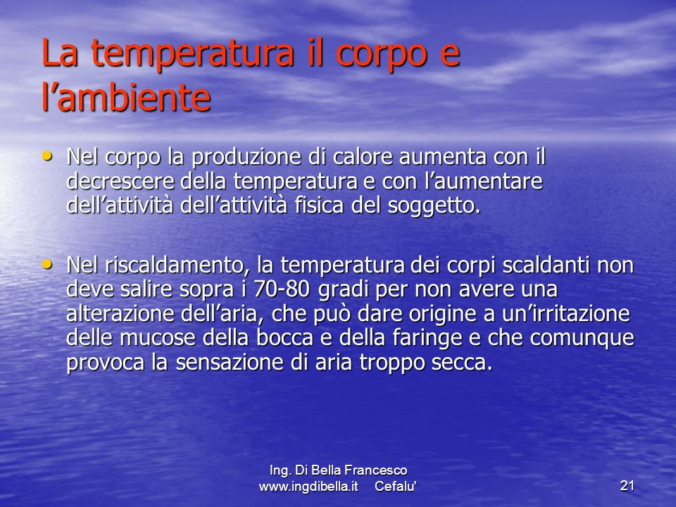 La temperatura il corpo e l'ambiente