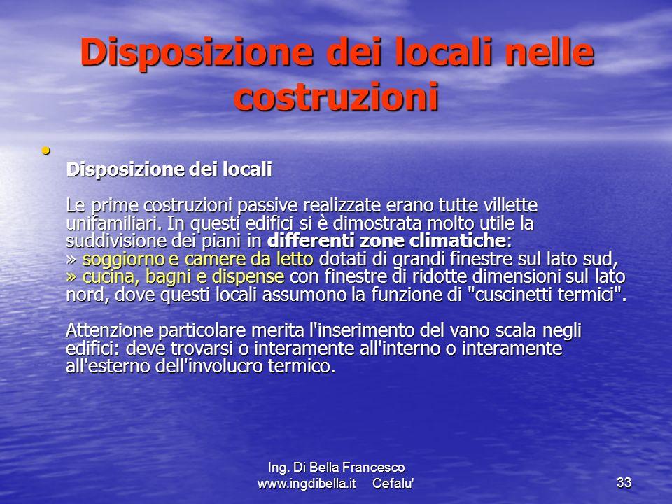 Disposizione dei locali nelle costruzioni